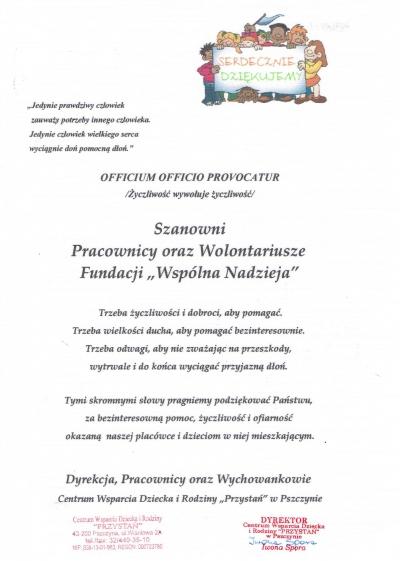 """Podziękowania Centrum Wsparcia Dziecka i Rodziny """"Przystań"""" w Pszczynie"""