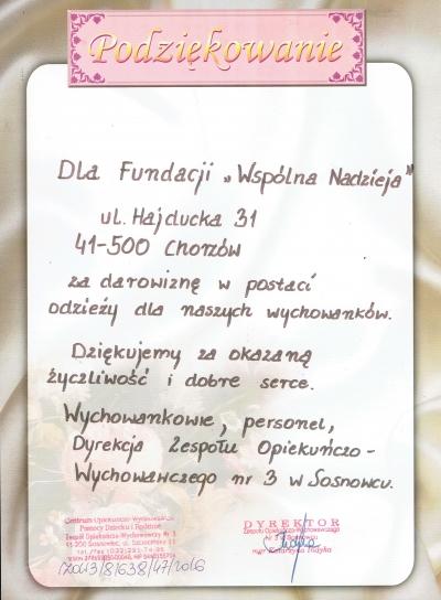 Podziękowania Zespołu Opiekuńczo-Wychowawczego nr 3 w Sosnowcu