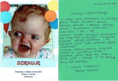 Podziękowania rodziców Karoliny Malinowskiej